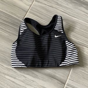NIKE Black and White Striped Sports Bra